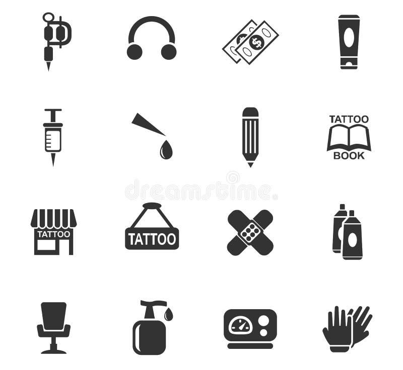 Комплект значка салона татуировки иллюстрация вектора
