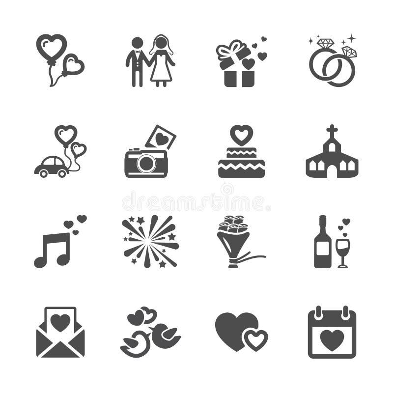 Комплект значка свадьбы, вектор eps10 бесплатная иллюстрация