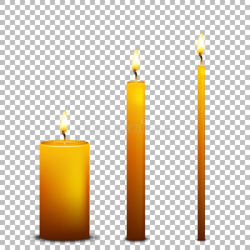 Комплект значка свечи вектора реалистический изолированный на прозрачной предпосылке Шаблоны конструкции EPS10 иллюстрация штока