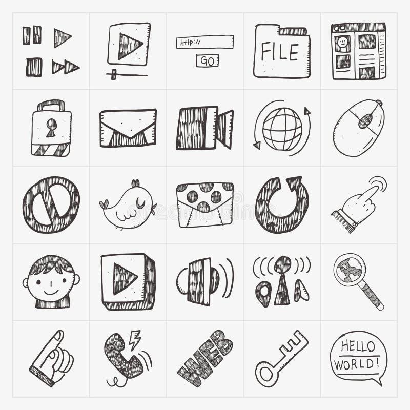 Комплект значка сети интернета Doodle иллюстрация штока
