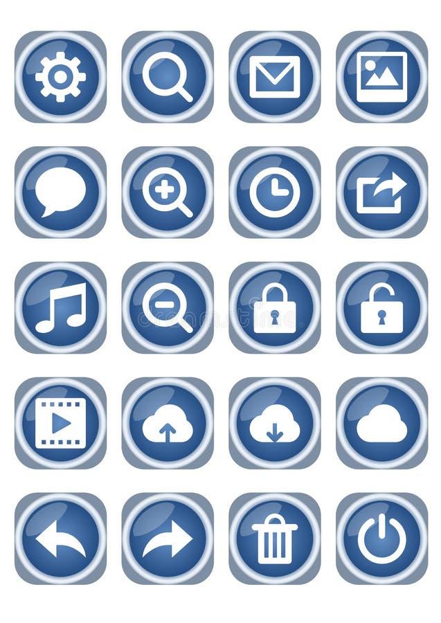 Комплект значка сети мега, голубые металлические значки с белыми пиктограммами, сигнал, пузырь речи, замок, облако, погань и друг бесплатная иллюстрация