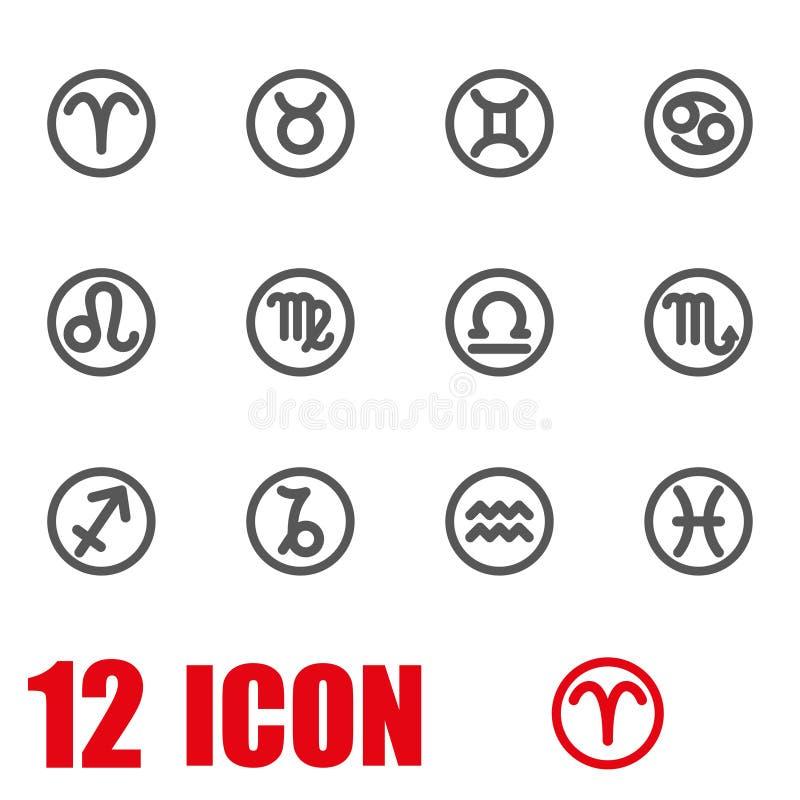 Комплект значка символов зодиака вектора серый иллюстрация вектора