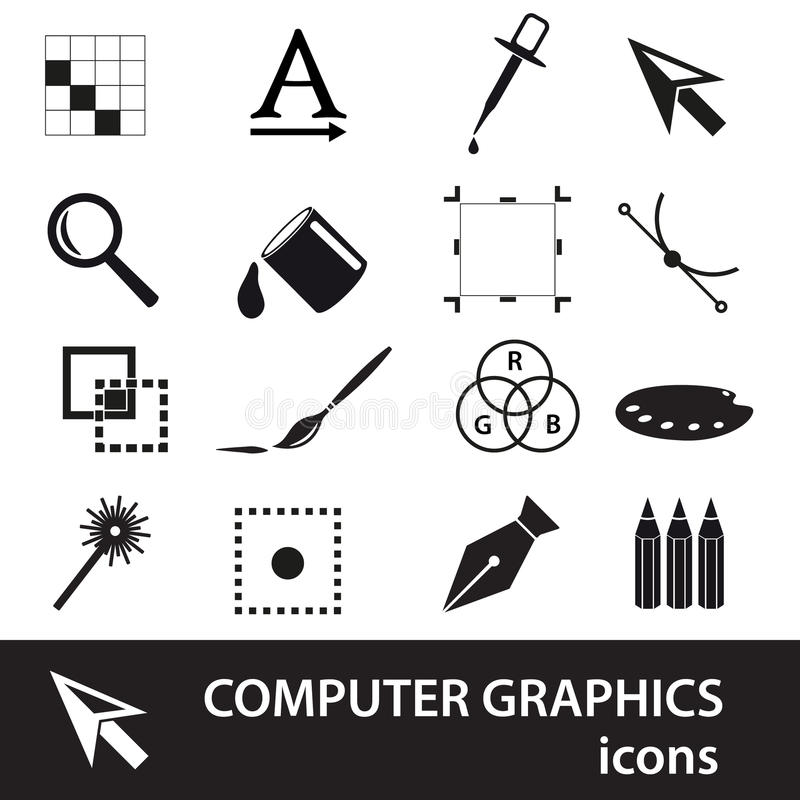 Комплект значка символов компьютерной графики черный иллюстрация штока