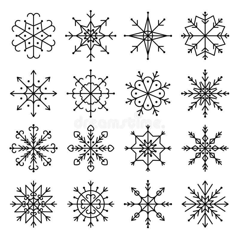 Комплект значка снежинки вектора черный Линия иллюстрация вектора искусства стоковые фотографии rf