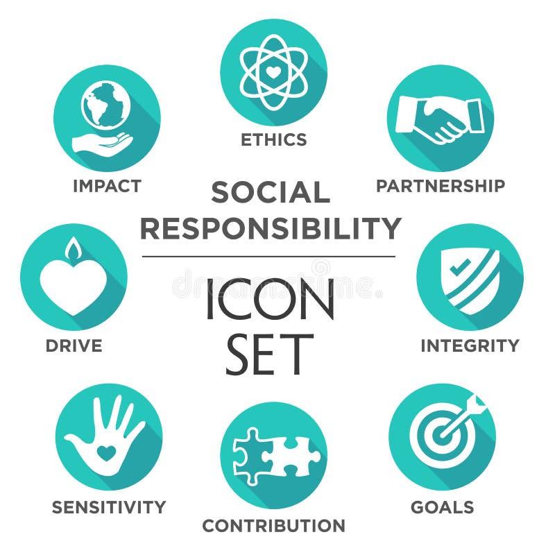 Комплект значка социальной ответственности твердый иллюстрация штока