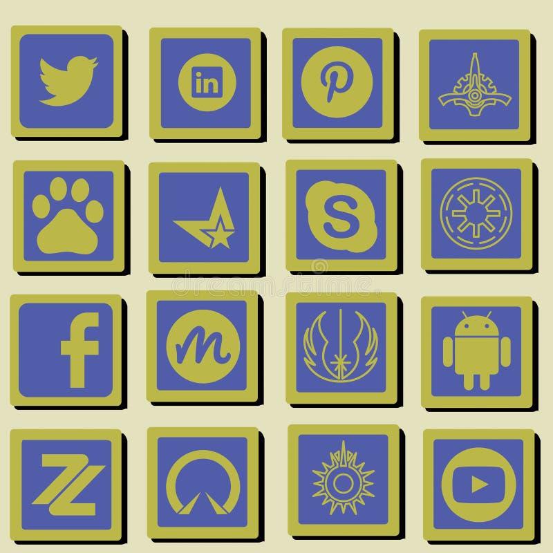 Комплект значка социальной технологии и средств массовой информации стоковое изображение rf