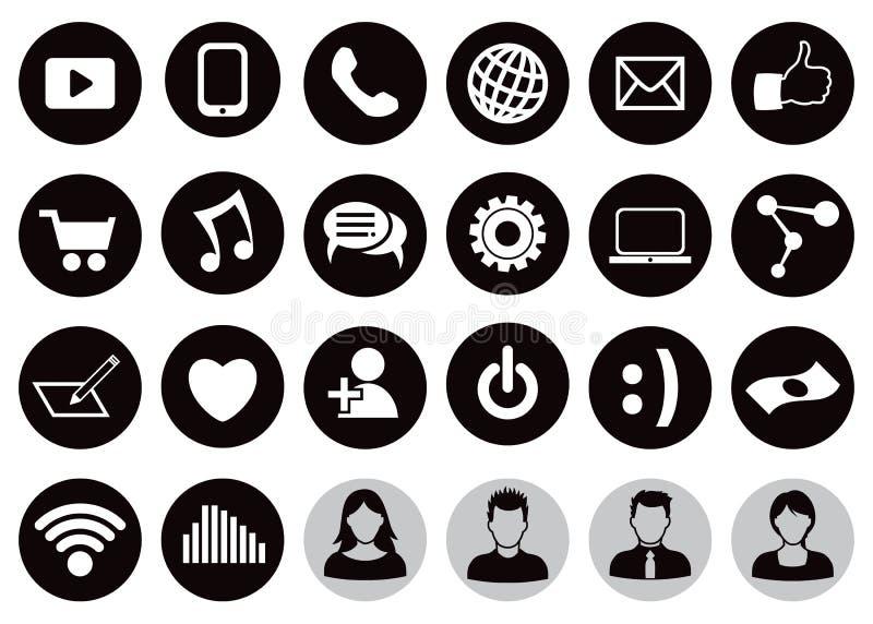 Комплект значка социальной технологии иллюстрация вектора