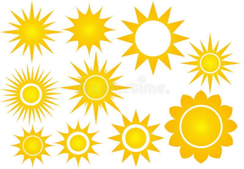 Комплект значка Солнця стоковая фотография rf