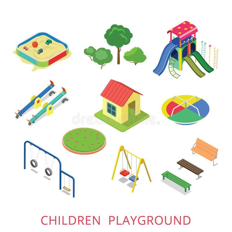 Комплект значка спортивной площадки детей плоского равновеликого стиля 3d современный иллюстрация вектора