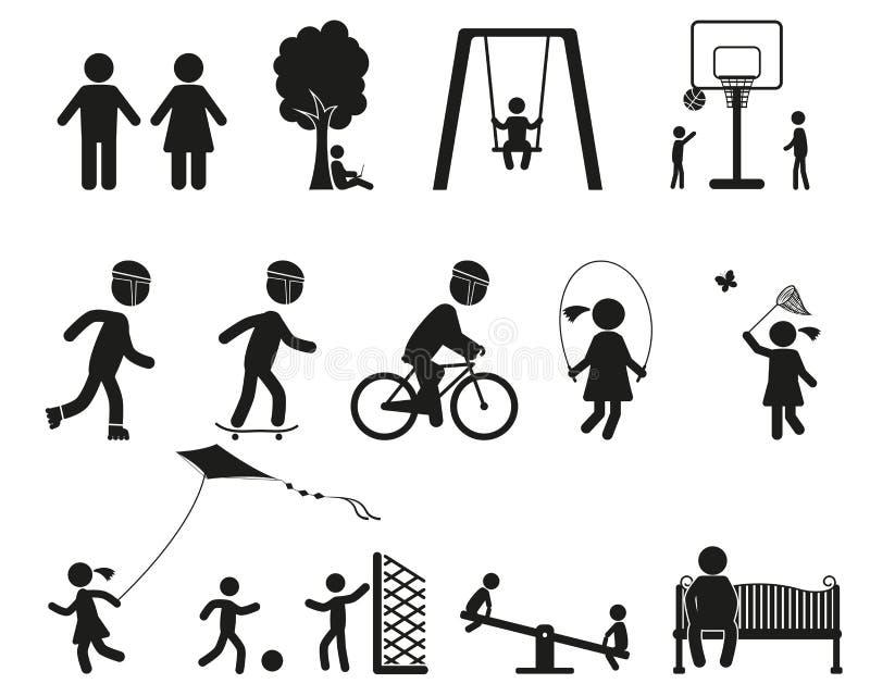 Комплект значка спортивной площадки и детей черный простой иллюстрация вектора