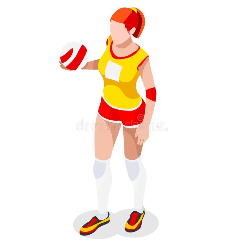Комплект значка спорт волейболиста равновеликий крытый волейбол 3D Олимпиады резвясь конкуренция залпа чемпионата международная S иллюстрация штока