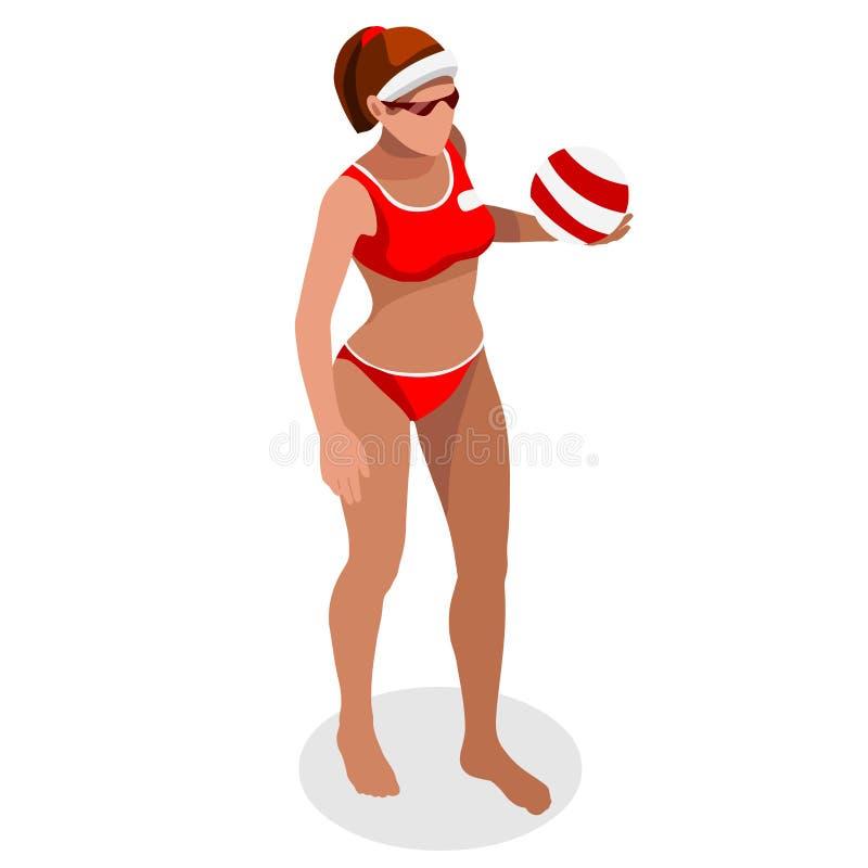 Комплект значка спорт игрока пляжного волейбола Волейбол пляжа Олимпиад 3D равновеликий Спортивный пляжный волейбол International бесплатная иллюстрация
