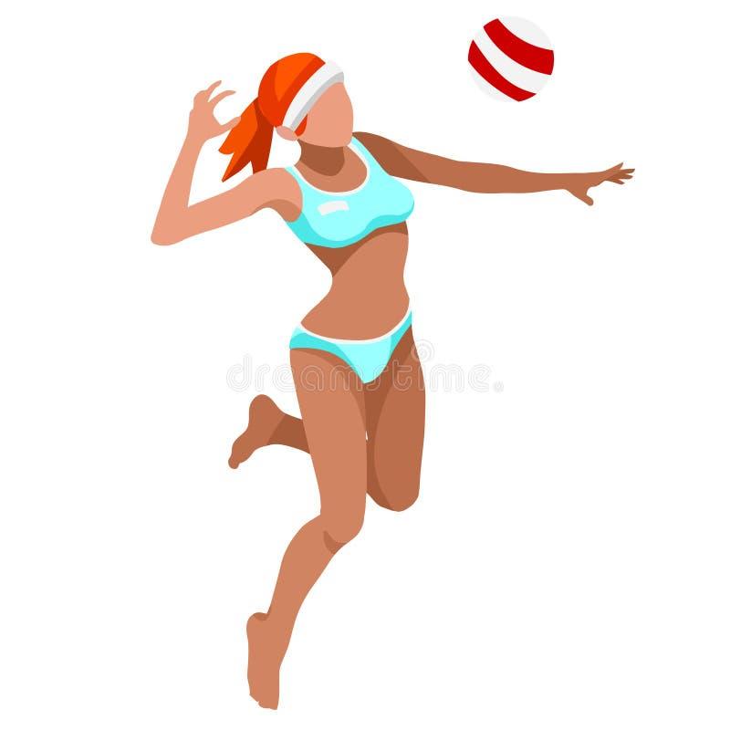 Комплект значка спорт игрока пляжного волейбола равновеликий волейбол пляжа 3D Олимпиады резвясь пляжный волейбол International ч иллюстрация вектора
