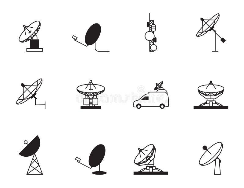Комплект значка спутниковой антенна-тарелки бесплатная иллюстрация