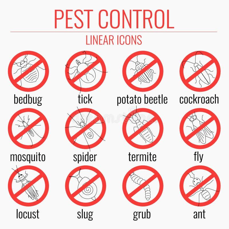 Комплект значка службы борьбы с грызунами и паразитами предупреждающий иллюстрация вектора
