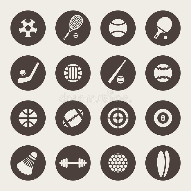 Комплект значка темы спорт иллюстрация штока