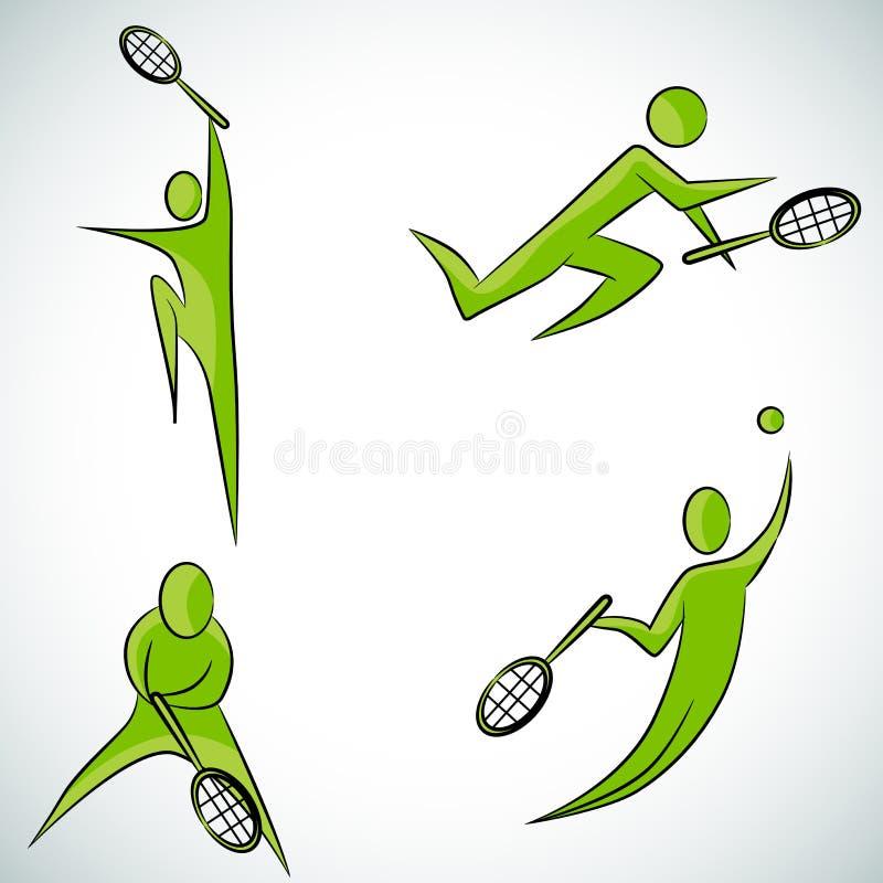 Комплект значка теннисиста иллюстрация штока