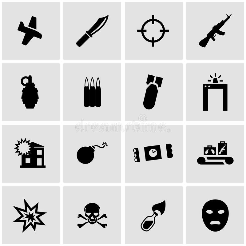 Комплект значка терроризма вектора черный иллюстрация штока
