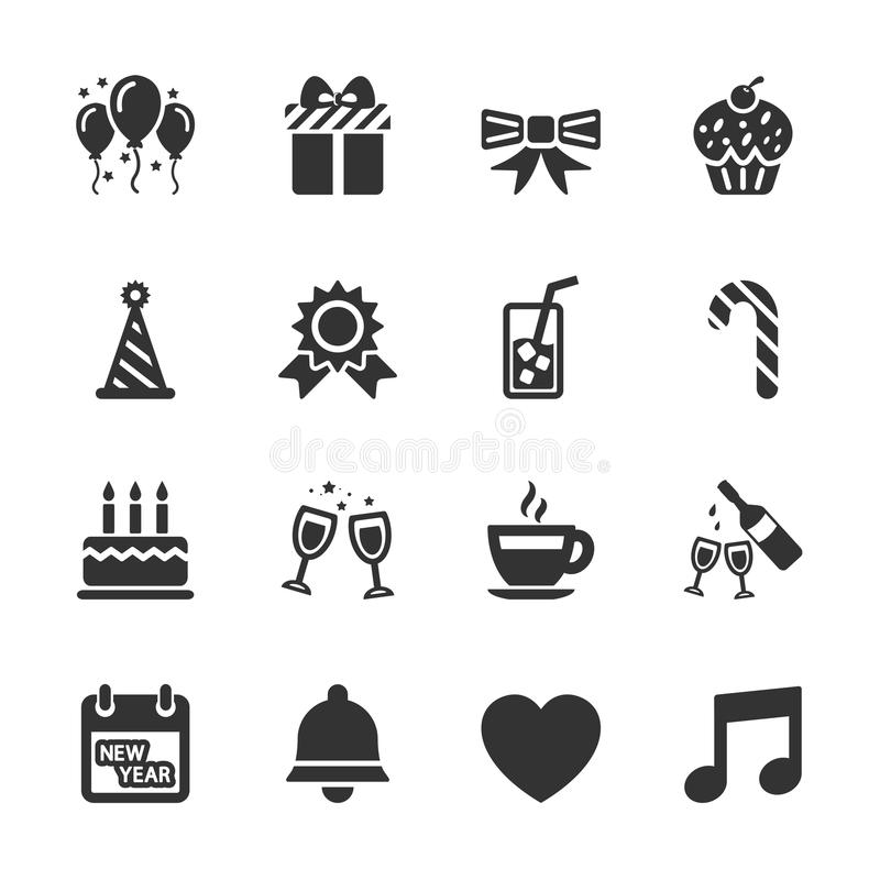 Комплект значка торжества и партии, вектор eps10 бесплатная иллюстрация