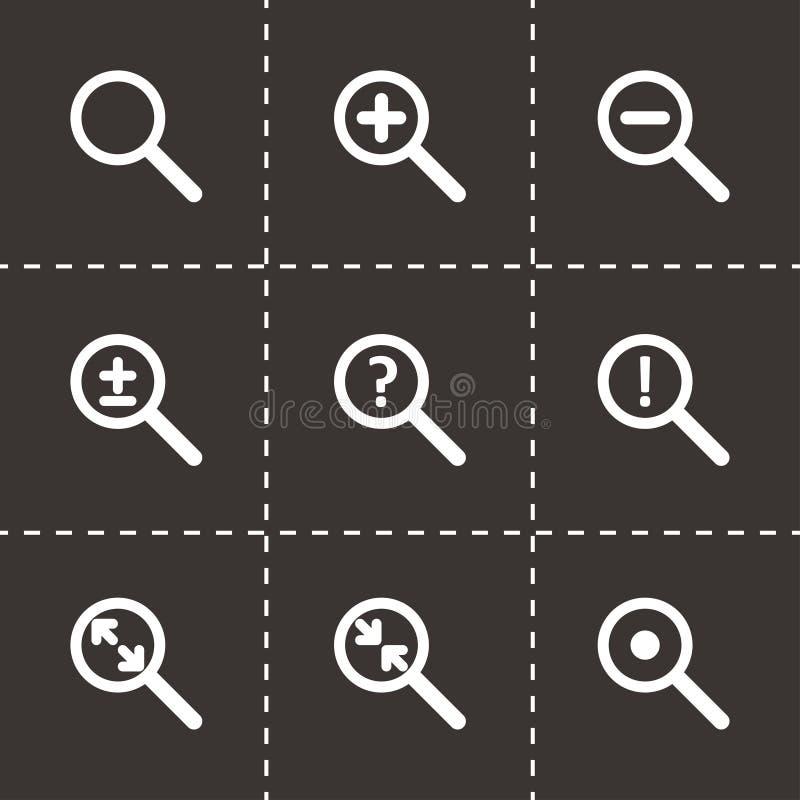 Комплект значка лупы вектора иллюстрация вектора