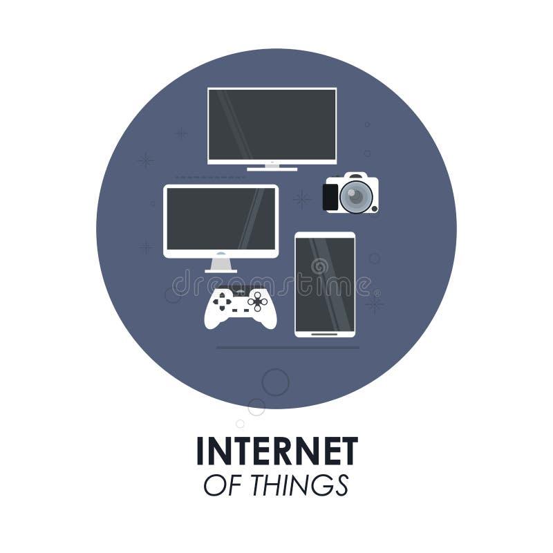 Комплект значка устройств Интернет дизайна вещей по мере того как вектор свирли предпосылки декоративный графический стилизованны иллюстрация вектора