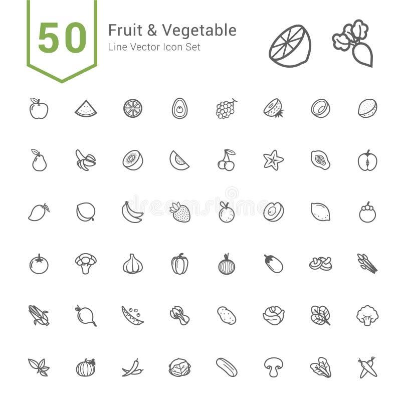 Комплект значка фрукта и овоща 50 линия значки вектора иллюстрация штока