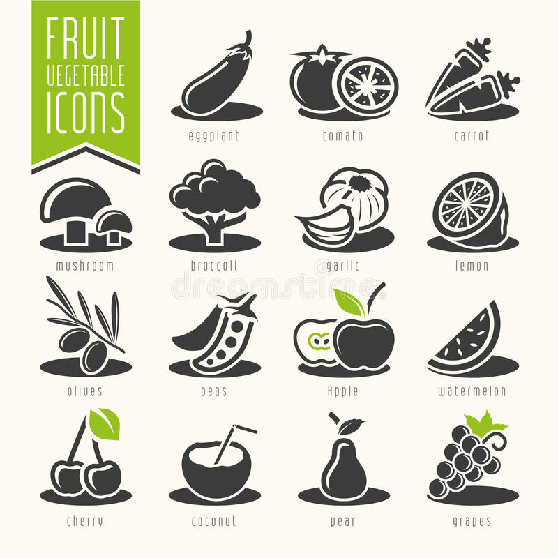 Комплект значка фрукта и овоща иллюстрация штока