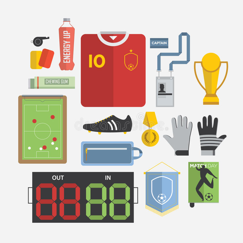 Комплект значка футбола/футбола в плоском дизайне иллюстрация штока