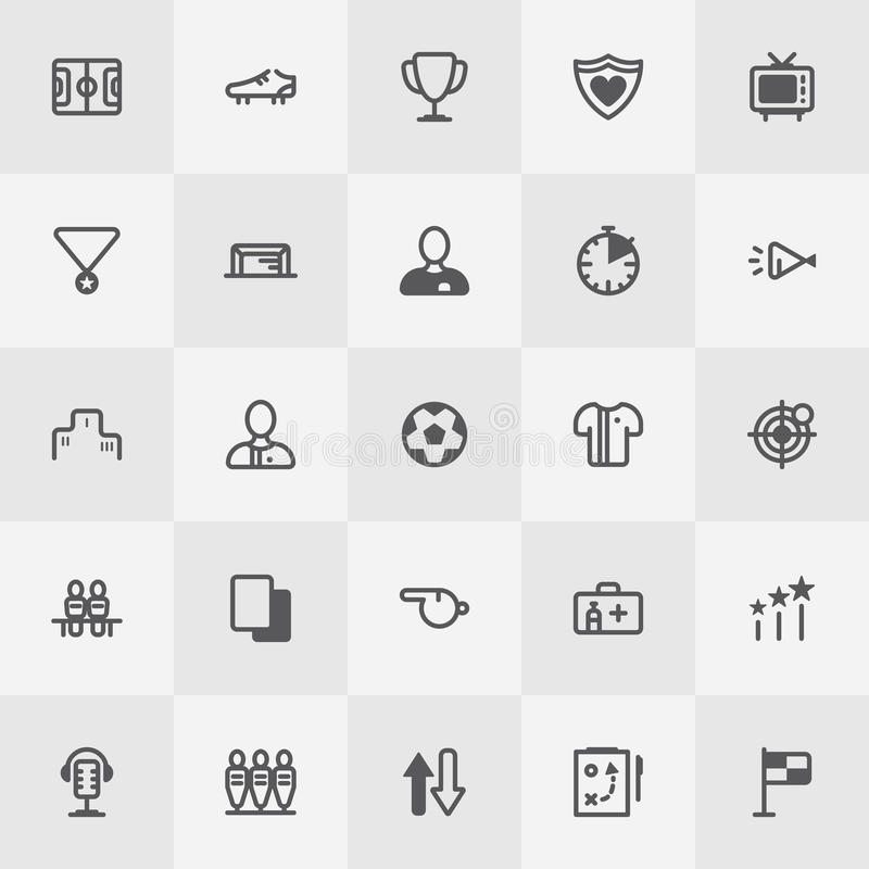 Комплект значка футбола/футбола Линия вектор искусства иллюстрация вектора