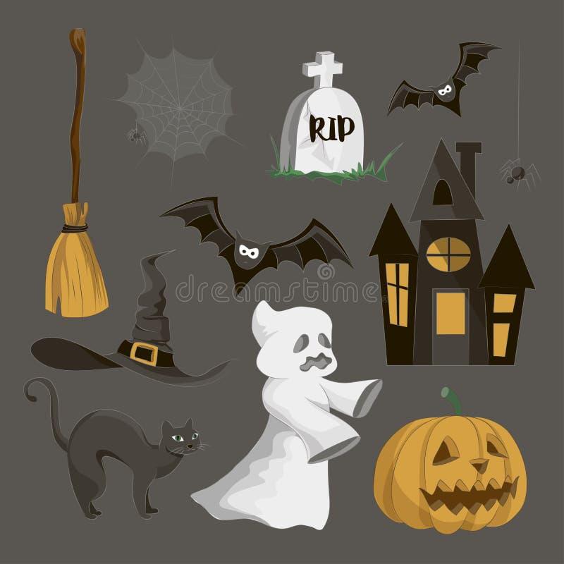 Комплект значка хеллоуина бесплатная иллюстрация