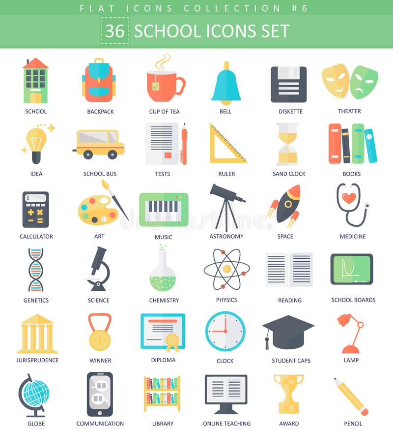 Комплект значка цвета школы вектора плоский Дизайн элегантного стиля бесплатная иллюстрация