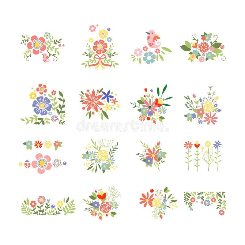 Комплект значка цветков в ультрамодном плоском стиле иллюстрация штока