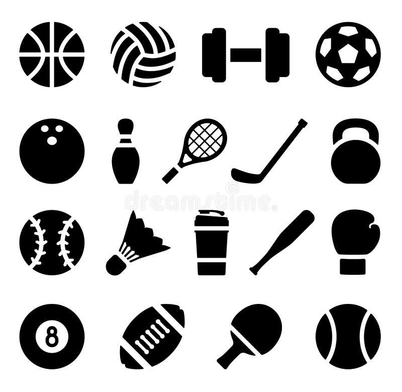 Комплект значка черного простого силуэта спортивного инвентаря в плоском дизайне иллюстрация штока
