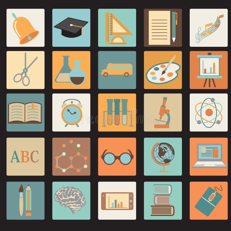 Комплект значка школы образования плоский иллюстрация вектора