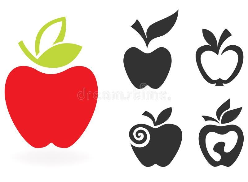 Комплект значка яблока изолированный на белой предпосылке. бесплатная иллюстрация