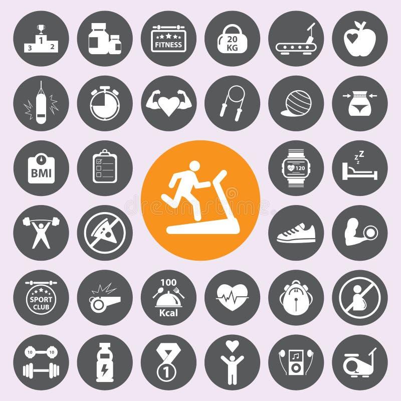 Комплект значка andFitness здоровья Vector/EPS10 бесплатная иллюстрация
