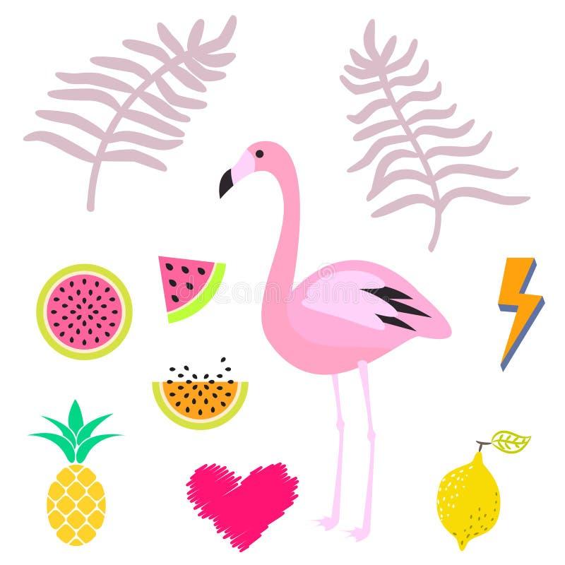 Комплект значка clipart фламинго лета розовый также вектор иллюстрации притяжки corel иллюстрация штока