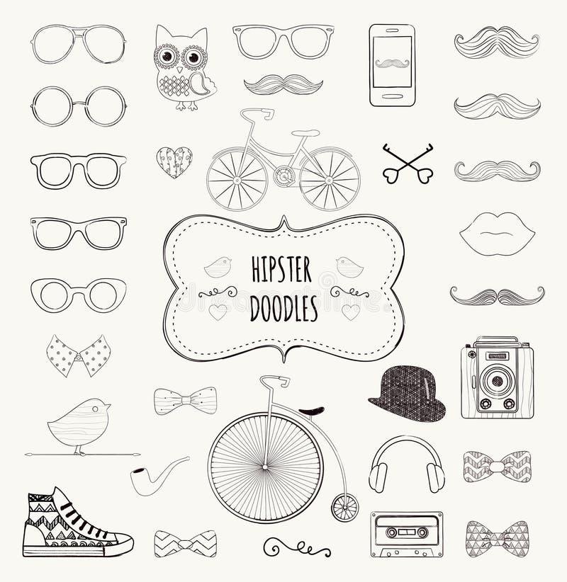 Комплект значка Doodle битника ретро винтажный бесплатная иллюстрация