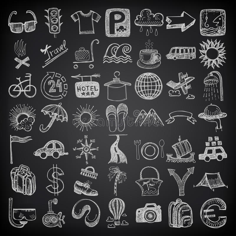 комплект значка doodle чертежа 49 рук, тема перемещения дальше иллюстрация вектора