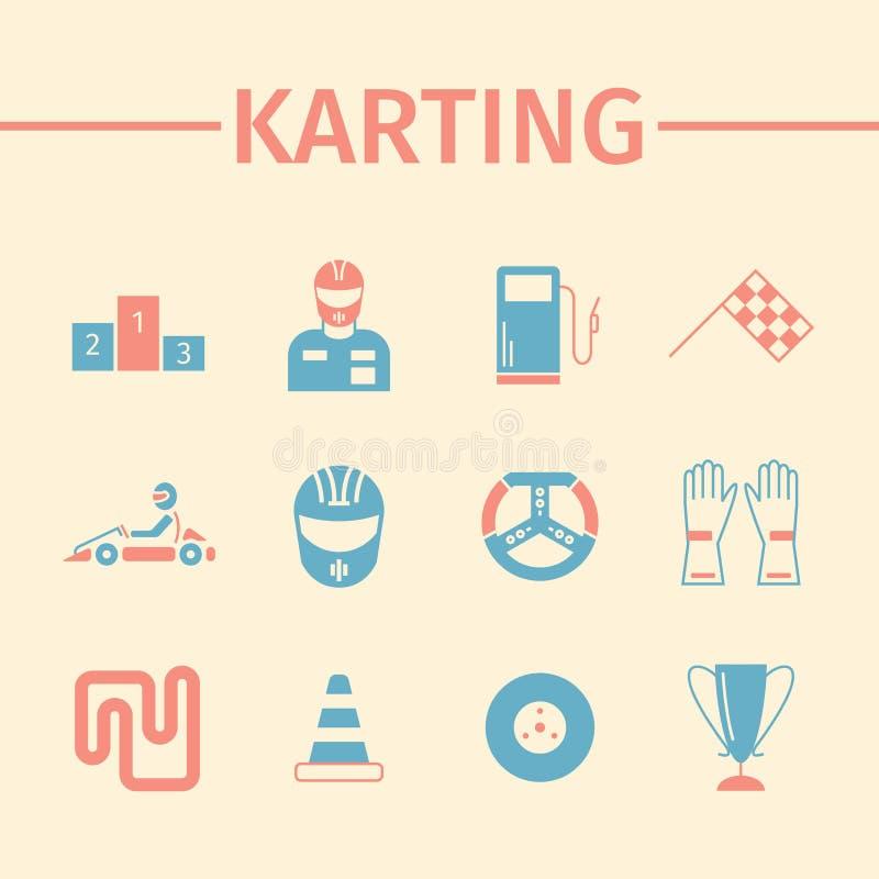Комплект значка Karting плоский Скорость участвуя в гонке схематическое знамя вектор иллюстрация штока