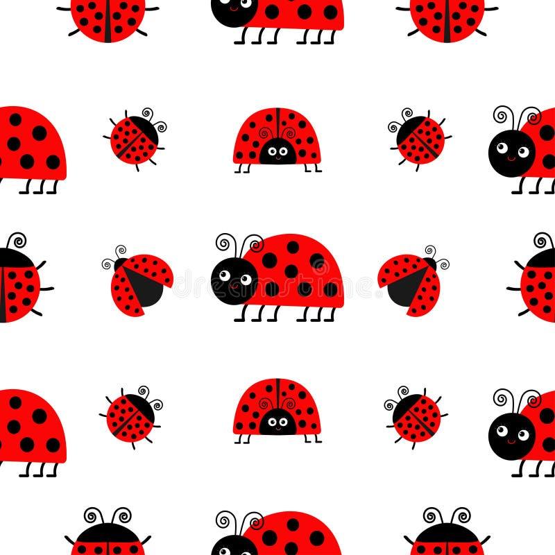 Комплект значка Ladybird Ladybug Собрание младенца смешное насекомое Безшовная упаковочная бумага картины, шаблон ткани Белая пре иллюстрация вектора