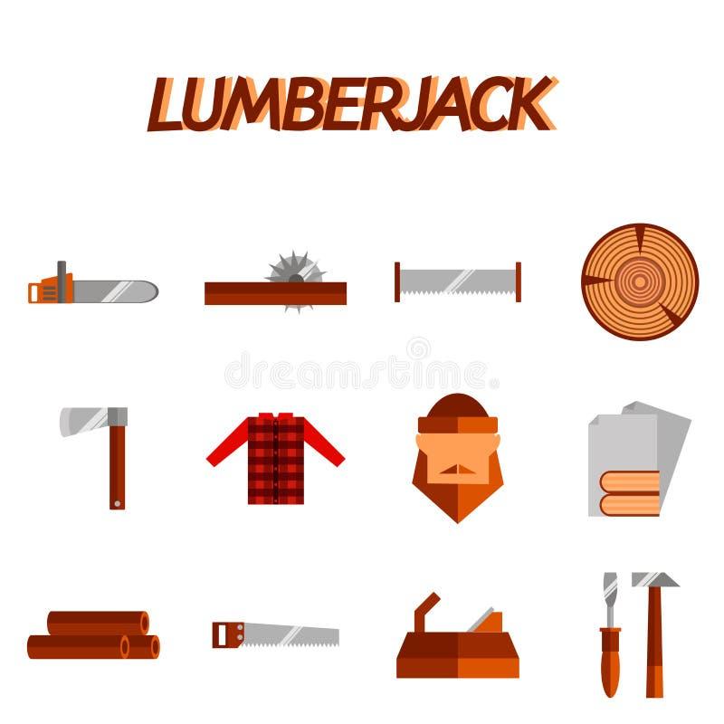 Комплект значка Lumberjack плоский иллюстрация штока