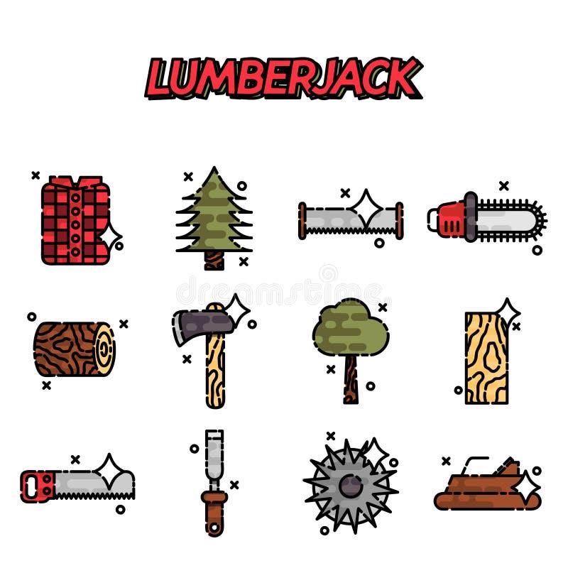 Комплект значка Lumberjack плоский бесплатная иллюстрация