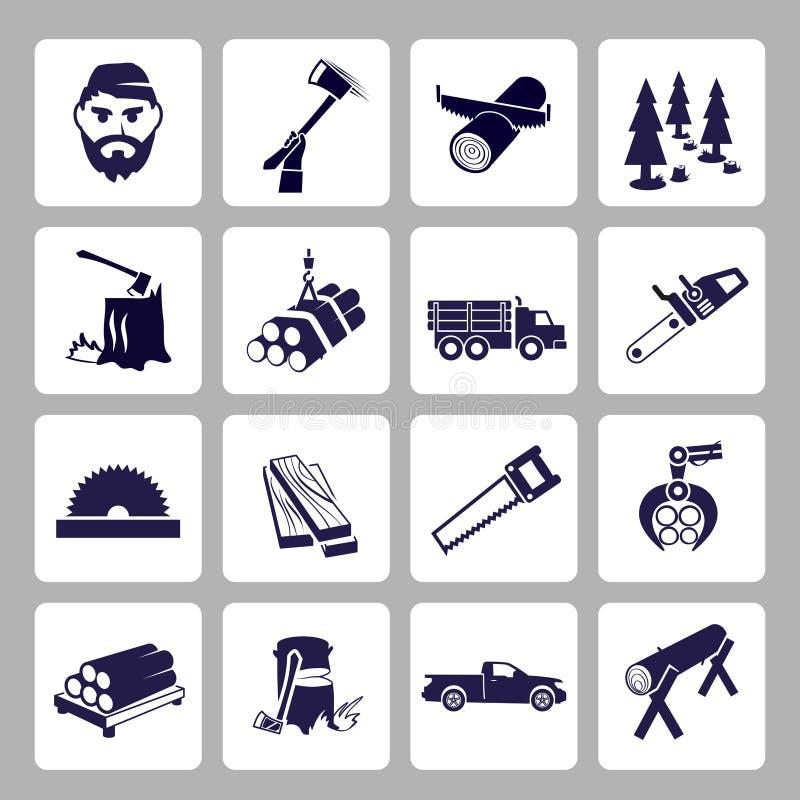 Комплект значка Lumberjack иллюстрация вектора
