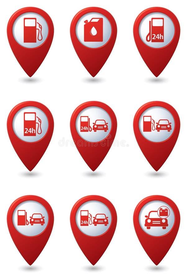 Комплект значков бензоколонки на зеленых указателях карты иллюстрация штока