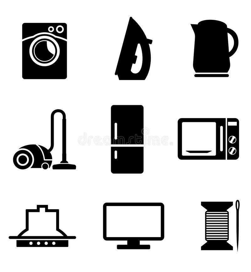 Комплект значков бытовых устройств иллюстрация штока