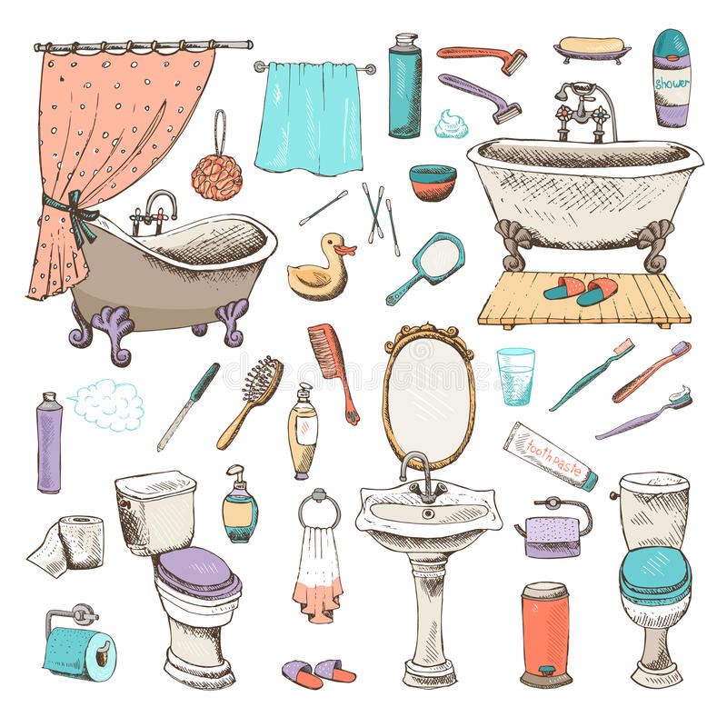 Комплект значков ванной комнаты и личной гигиены бесплатная иллюстрация