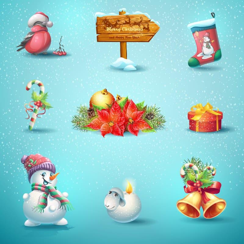Комплект значков вектора на рождество и Новый Год иллюстрация штока