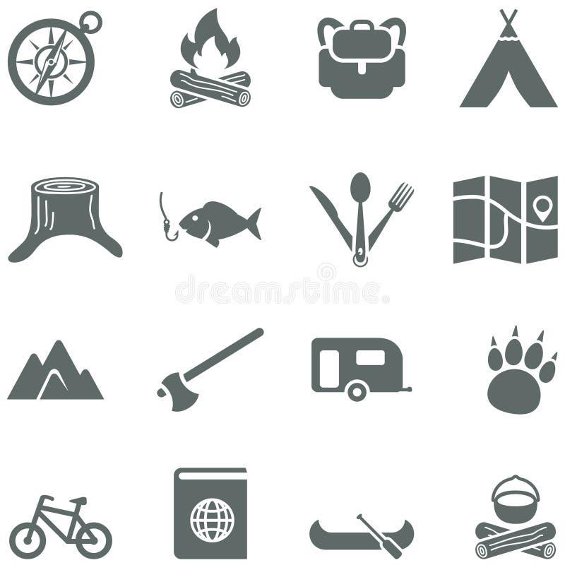 Комплект значков вектора для туризма, перемещения и campin иллюстрация вектора