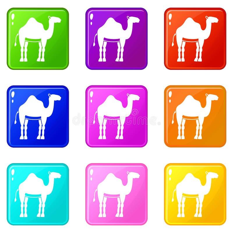 Комплект значков 9 верблюда иллюстрация штока